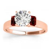Three-Stone Emerald Cut Garnet & Diamond Engagement Ring Setting 18k Rose Gold (0.30ct)