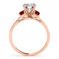 Trio Emerald Cut Garnet Engagement Ring 18k Rose Gold (0.30ct)