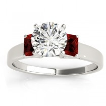 Three-Stone Emerald Cut Garnet & Diamond Engagement Ring Setting 18k White Gold (0.30ct)