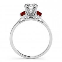 Trio Emerald Cut Garnet Engagement Ring 18k White Gold (0.30ct)