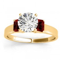 Three-Stone Emerald Cut Garnet & Diamond Engagement Ring Setting 18k Yellow Gold (0.30ct)