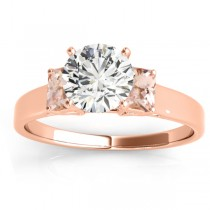 Three-Stone Emerald Cut Morganite & Diamond Engagement Ring Setting 18k Rose Gold (0.30ct)