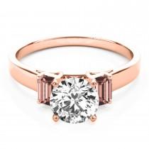 Trio Emerald Cut Morganite Engagement Ring 18k Rose Gold (0.30ct)