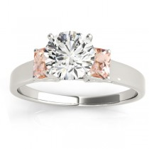 Three-Stone Emerald Cut Morganite & Diamond Engagement Ring Setting 18k White Gold (0.30ct)