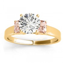 Three-Stone Emerald Cut Morganite & Diamond Engagement Ring Setting 18k Yellow Gold (0.30ct)