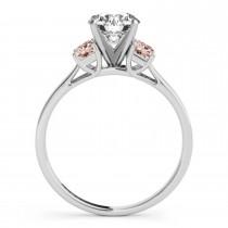 Trio Emerald Cut Morganite Engagement Ring Palladium (0.30ct)