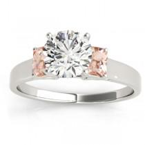 Trio Emerald Cut Morganite Engagement Ring Platinum (0.30ct)