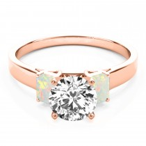 Trio Emerald Cut Opal Engagement Ring 14k Rose Gold (0.30ct)