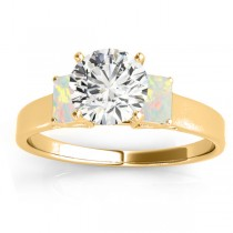 Three-Stone Emerald Cut Opal & Diamond Engagement Ring Setting 14k Yellow Gold (0.30ct)