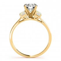 Trio Emerald Cut Opal Engagement Ring 14k Yellow Gold (0.30ct)