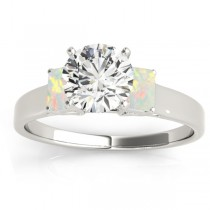 Three-Stone Emerald Cut Opal & Diamond Engagement Ring Setting Palladium (0.30ct)