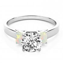 Trio Emerald Cut Opal Engagement Ring Palladium (0.30ct)