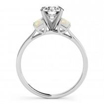 Trio Emerald Cut Opal Engagement Ring Platinum (0.30ct)