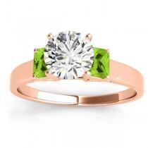 Three-Stone Emerald Cut Peridot & Diamond Engagement Ring Setting 14k Rose Gold (0.30ct)