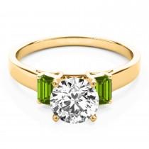 Trio Emerald Cut Peridot Engagement Ring 14k Yellow Gold (0.30ct)