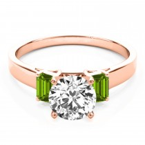 Trio Emerald Cut Peridot Engagement Ring 18k Rose Gold (0.30ct)