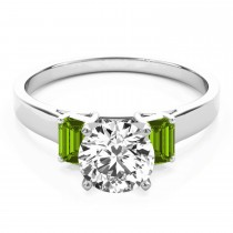 Trio Emerald Cut Peridot Engagement Ring 18k White Gold (0.30ct)