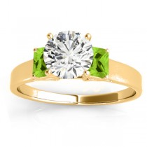 Three-Stone Emerald Cut Peridot & Diamond Engagement Ring Setting 18k Yellow Gold (0.30ct)