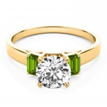 Trio Emerald Cut Peridot Engagement Ring 18k Yellow Gold (0.30ct)