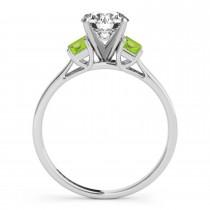 Trio Emerald Cut Peridot Engagement Ring Palladium (0.30ct)