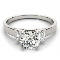 Trio Emerald Cut Diamond Engagement Ring Palladium (0.30ct)