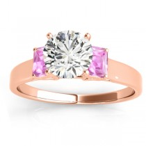 Three-Stone Emerald Cut Pink Sapphire & Diamond Engagement Ring Setting 18k Rose Gold (0.30ct)