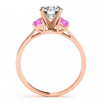 Trio Emerald Cut Pink Sapphire Engagement Ring 18k Rose Gold (0.30ct)