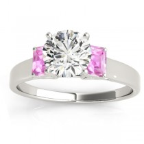 Three-Stone Emerald Cut Pink Sapphire & Diamond Engagement Ring Setting 18k White Gold (0.30ct)