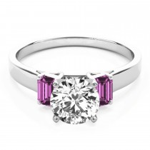 Trio Emerald Cut Pink Sapphire Engagement Ring 18k White Gold (0.30ct)