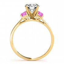 Trio Emerald Cut Pink Sapphire Engagement Ring 18k Yellow Gold (0.30ct)