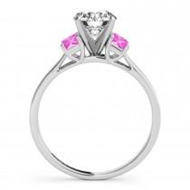 Trio Emerald Cut Pink Sapphire Engagement Ring Palladium (0.30ct)