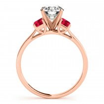 Trio Emerald Cut Ruby Engagement Ring 14k Rose Gold (0.30ct)