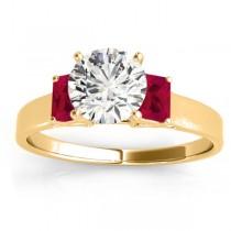 Three-Stone Emerald Cut Ruby & Diamond Engagement Ring Setting 14k Yellow Gold (0.30ct)