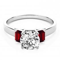 Trio Emerald Cut Ruby Engagement Ring 18k White Gold (0.30ct)