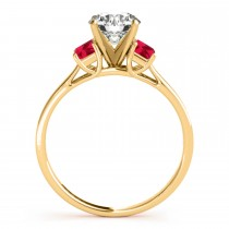 Trio Emerald Cut Ruby Engagement Ring 18k Yellow Gold (0.30ct)