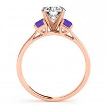Trio Emerald Cut Tanzanite Engagement Ring 14k Rose Gold (0.30ct)