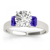 Three-Stone Emerald Cut Tanzanite & Diamond Engagement Ring Setting 14k White Gold (0.30ct)