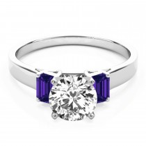 Trio Emerald Cut Tanzanite Engagement Ring 18k White Gold (0.30ct)