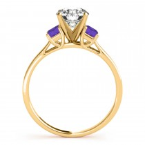 Trio Emerald Cut Tanzanite Engagement Ring 18k Yellow Gold (0.30ct)