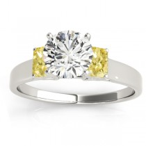 Three-Stone Emerald Cut Yellow Diamond & Diamond Engagement Ring Setting 14k White Gold (0.30ct)