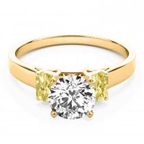 Trio Emerald Cut Yellow Diamond Engagement Ring 14k Yellow Gold (0.30ct)
