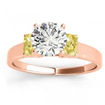 Three-Stone Emerald Cut Yellow Diamond & Diamond Engagement Ring Setting 18k Rose Gold (0.30ct)