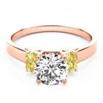 Trio Emerald Cut Yellow Diamond Engagement Ring 18k Rose Gold (0.30ct)