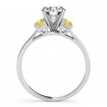 Trio Emerald Cut Yellow Diamond Engagement Ring Palladium (0.30ct)