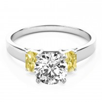 Trio Emerald Cut Yellow Diamond Engagement Ring Platinum (0.30ct)