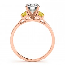 Trio Emerald Cut Yellow Sapphire Engagement Ring 14k Rose Gold (0.30ct)