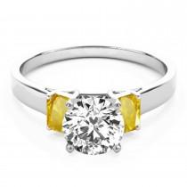 Trio Emerald Cut Yellow Sapphire Engagement Ring 14k White Gold (0.30ct)