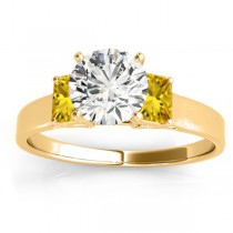 Three-Stone Emerald Cut Yellow Sapphire & Diamond Engagement Ring Setting 14k Yellow Gold (0.30ct)