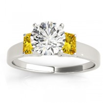 Three-Stone Emerald Cut Yellow Sapphire & Diamond Engagement Ring Setting 18k White Gold (0.30ct)