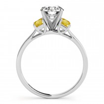 Trio Emerald Cut Yellow Sapphire Engagement Ring 18k White Gold (0.30ct)